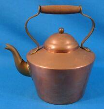 Copper Brass Tea Pot Kettle w/ Wooden Handle