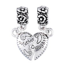 "1Set  Silver Tibetan European Charm Dangle Beads ""Mother Daughter"" Style 29x20mm"