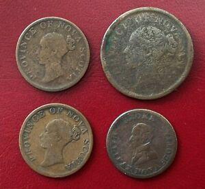 Nova Scotia, 1814 - 1843, 4 x Penny / Halfpenny Tokens (Mixed Grades)