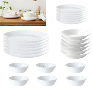 White Plates Bowls Crockery Dinner Set Dinnerware Tableware 8 16 24 Pc