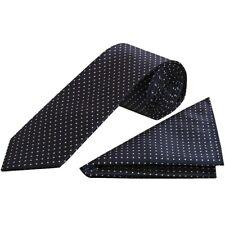 Navy Blue and White Polka Dot Classic Men's Tie Handkerchief Set Wedding Tie
