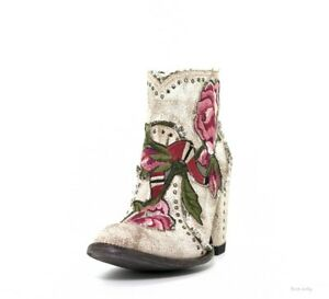 BL3184-3 OLD GRINGO CARLA CRACKLED MILK FLORAL ANKLE BOOTS