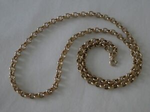 """Vintage Chunky 9CT Solid Gold Belcher Chain Necklace 22½"""" Long"""