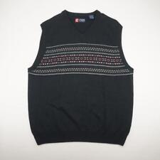 RALPH LAUREN CHAPS Cotton Pullover V-Neck Sweater Vest Black Mens XL