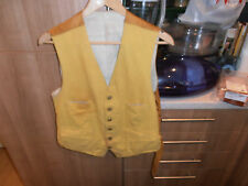 Vtg Mustard Hunting Waistcoat with Tedworth Hunt Brass  Buttons Size 40""