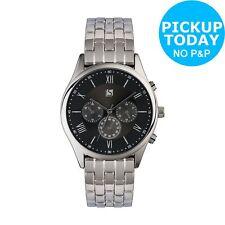 Spirit Men's Silver Stainless Steel Black Dial Bracelet Watch
