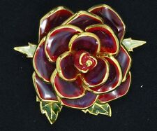 RARE JOAN RIVERS ENAMEL ROSE FLOWER BROOCH ~ 2.5""
