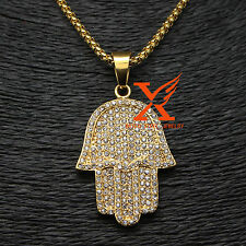 "Men's Stainless Steel Gold Plated Palm Hand Pendant Necklace 3MM 24"" Box Chain"