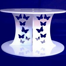 Butterfly Design Round Presentation Stand - White