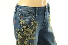 Miss Me Women's Blue Jeans Metallic Lace Embellished Denim