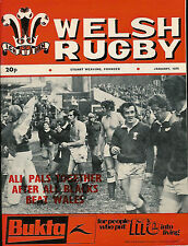 WELSH RUGBY MAGAZINE JANUARY 1975, WALES V NZ ALL BLACKS 1974 REPORT