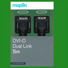 Maplin 5M DVI-D Dual Link 1080p HD Digital (24+1) PC TV Laptop Monitor Cable M/m