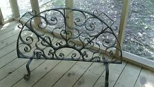 Vtg Heavy Wrought Iron Footed Fireplace Screen Fire Place Garden Trellis Ornate