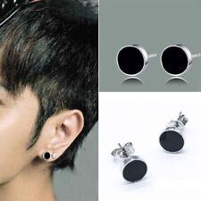 Joyas Mujeres Hombres Cristal Negro Chapado en plata Ear studs Pendientes