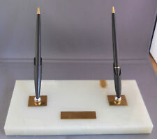 Parker  Double White Marble Desk Set-working--medium nibs