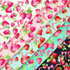 Cotton Print Fabric FQ Strawberry Fruit Pink Bow Flower Quilting Patchwork VR6