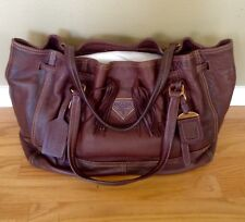 Auth Prada Brown Cervo Antik Deerskin Drawstring  Shopping Tote Shoulder Bag