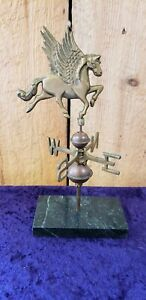 BRASS PEGASUS  WEATHERVANE PAPER WEIGHT WITH COPPER BALLS 10 in tall