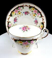 "ALLYN NELSON COLLECTION ENGLAND PINK & YELLOW FLORAL 2 3/4"" CUP & SAUCER SET"