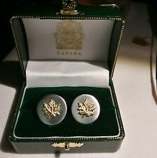 Vintage Canadian Maple Leaf Cufflinks MIB Brushed Silver & Gold Tone