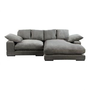 """106"""" W Sectional with Flip Chaise Rubber-wood Legs Wooden Frame Corduroy"""