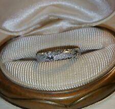 Ross Simons 14k White Gold brushed textured diamond cut wedding Band Ring SLC