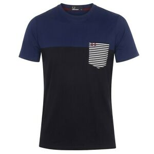 Fred Perry Men's Crew Neck Striped Pocket T-Shirt Cotton Size: Small