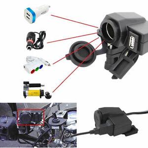 12v moto usb + porta presa accendisigari impermeabile per caricabatterie nero