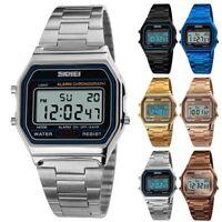SKMEI Men Women Stainless Steel LED Digital Sport Quartz Wrist Watch Gift
