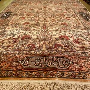 Antique Rare Hereke Pure Silk Genuine Rug Carpet 4.20 x 2.78 ft