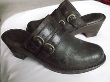 BORN Women's Shoes Brown Nubuck Leather Clogs Mules Heels 11M