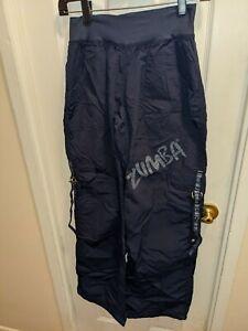 Zumba Wear Navy Medium Nylon Cargo Ribbons Gym Dance Pants Fitness Active M med