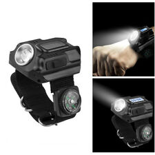 Tactical Rechargeable CREE LED Wrist Watch Flashlight Torch Lamp Light + Compass