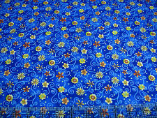 3 Yards Quilt Cotton Fabric - Northcott Topsy Turvy Floral Swirls Dark Blue