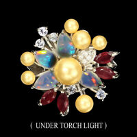 Pear Unheated Fire Opal 6x4mm Ruby Tanzanite Pearl Cz 925 Sterling Silver Ring 8
