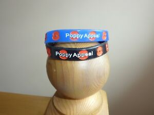 Pair Royal British Legion POPPY Silicone Wristband  Adults 1x Black 1x Blue