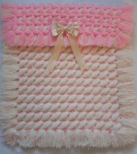 PINK CREAM CRISS CROSS NON POM POM BABY GIRL PRAM BLANKET WITH REMOVABLE BOW