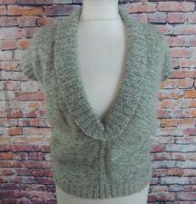 "Vintage jumper 12 UK Bust 38"" khaki wool mohair blend fluffy cap sleeves tanktop"