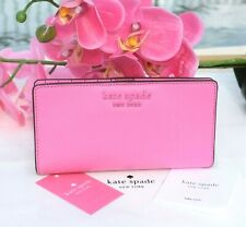 🌸 NWT Kate Spade Cameron Large Slim Bifold Wallet Leather Bright Peony New