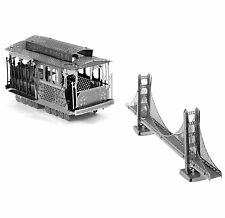 Metal Earth 3D Laser Cut Model Kits SF Golden Gate Bridge & Cable Car = SET OF 2