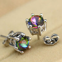 Princess Silver Jewelry Clear Round Rainbow Topaz Gemstone Ear Studs Earrings
