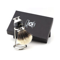 Men's Shaving Pure Black Badger Hair Brush Barber Salon Free Steel Holder/Stand