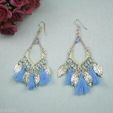 E14 bleu et or tassel boho ethnique lustre larme crochet boucles d'oreilles