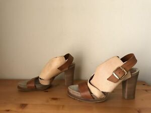 Anthroplogie Coque Terra Sanne Stack heel wrap sandals shoes 39 Beige Portugal