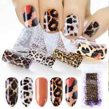 4Sheets Leopard Nail Art Transfer Foil Sexy Starry Sky Nail Sticker Decals Decor