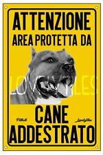 PITBULL AREA PROTETTA TARGA ATTENTI AL CANE CARTELLO PVC GIALLO