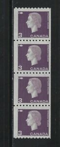 CANADA - #407i - 3c QUEEN ELIZABETH II CAMEO ISSUE COIL JUMP STRIP OF 4 MNH