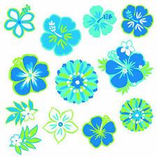 Hawaiian floral cutouts blue suit Hawaiian Party 12 pack