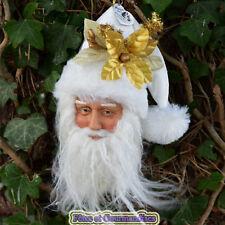 Pere Noel tête à suspendre sapin couronne déco table fêtes de fin d'année blanc