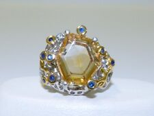 GENUINE 5.63tcw! Brazilian Citrine & African Sapphire Ring Sterling Silver 925